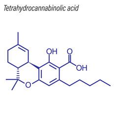 Skeletal formula tetrahydrocannabinolic acid vector
