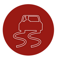 Slippery road isolated icon vector
