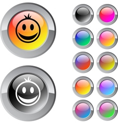 Smiley multicolor round button vector