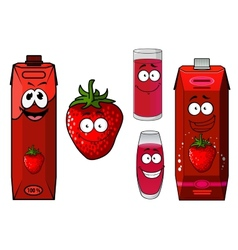 Strawberry smoothie or juice icon set vector image