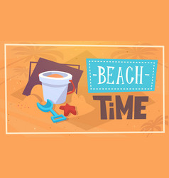 summer beach time vacation sea travel retro banner vector image