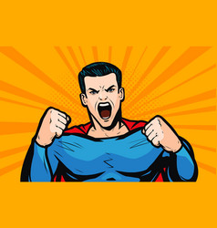 superhero with fists pop art retro comic style vector image