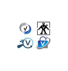 Technology application v template set vector