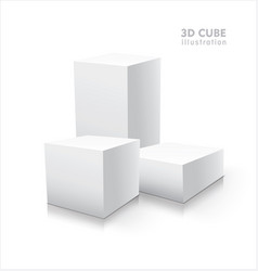 three 3d cubes isolated on white background vector image