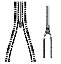 tire track car zipper silhouettes vector image