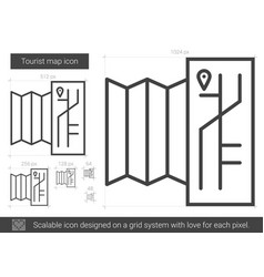 Tourist map line icon vector