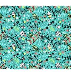 Tropical bright seamless pattern with surfboard vector