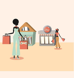 Two women carrying handbags and retro stores vector