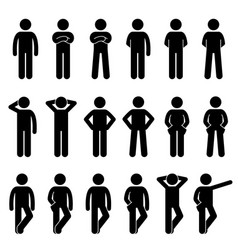 Various basic standing human man people body vector