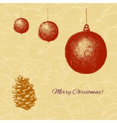 Vecor Christmas card with fir tree decorations and vector image