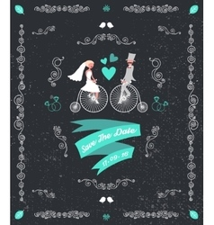vintage retro wedding invitation hand vector image