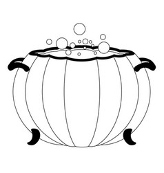 Witch cauldron with a halloween pumpkin shape vector
