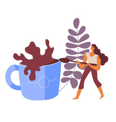 woman mixing coffee beverage with tea spoon vector image