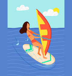woman surfboarder riding on board with canvas sea vector image