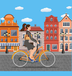 business lady riding on a cruiser bicycle vector image vector image