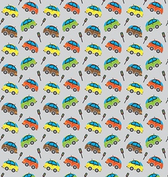 Cute car pattern and traffic lights vector