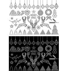 geometric christmas set vector image vector image