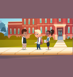 group of pupils mix race stand in front of school vector image vector image