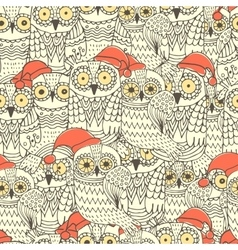 seamless pattern with cute owls vector image