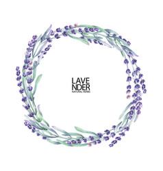 Watercolor lavender wreath vector