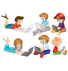 Children and computer vector image vector image