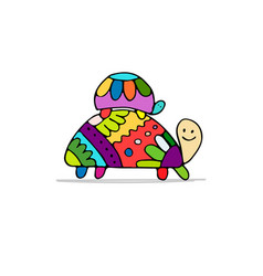 funny family turtle with baby sketch for your vector image vector image