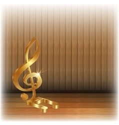 Golden treble clef on wooden background vector image