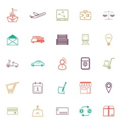 International business line icons flat color vector image