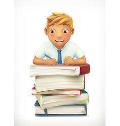 Pupil and school textbooks Little boy cartoon vector image