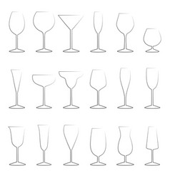 set of glasses outlines vector image vector image