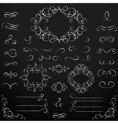 Chalkboard set of calligraphic design elements vector