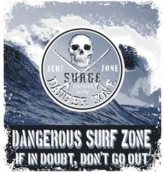 danger surf zone vector image vector image