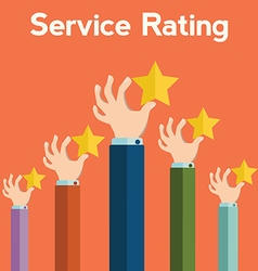 Feedback recognition concept Hand holding rating vector image