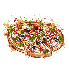 italian pizza with splashes in watercolor style vector image