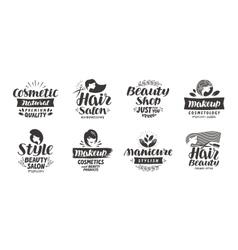 Beauty salon logo set of icons beautiful labels vector