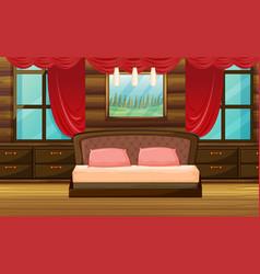 bedroom scene with wooden bed vector image vector image