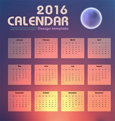 Calendar 2016 night sky and moon background design vector image vector image