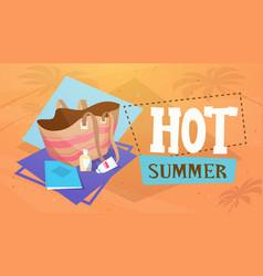 hot summer vacation sea travel retro banner vector image vector image
