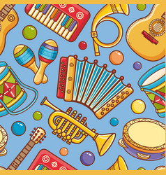 musical instrument seamless pattern cartoon style vector image vector image