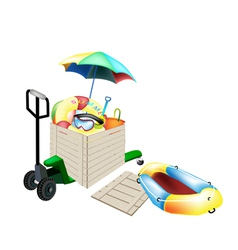 Pallet Truck Loading Beach Items in Shipping Box vector image vector image