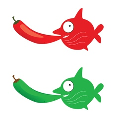 red and green fish with chillies vector image vector image