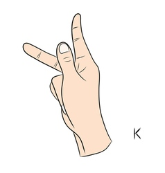 Sign language and the alphabetThe Letter k vector image vector image