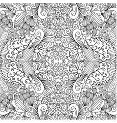 symmetric outline ornamental floral pattern vector image