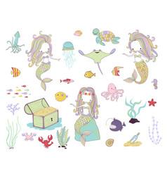 underwater life mermaids and sea animals vector image vector image