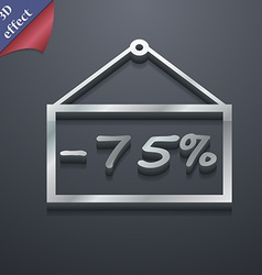 75 discount icon symbol 3D style Trendy modern vector image