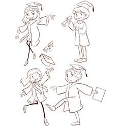 A plain sketch of a graduation ceremony vector image