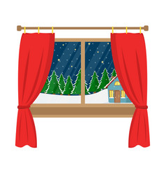 A window with a view of the decorated house vector