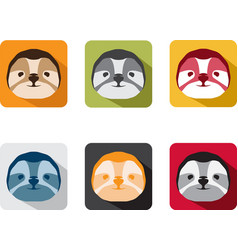 Abstract animal sloth flat design icons set vector