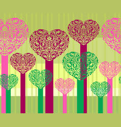 abstract heart trees vector image