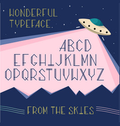 alphabet letters space typeface ufo vector image